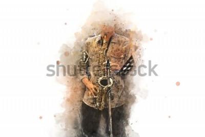 Póster Saxofón abstracto en primer plano. De cerca, el jazz de la pintura de la acuarela que toca el saxofón.