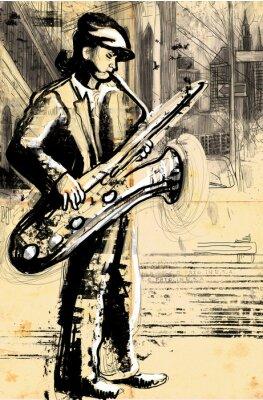 Póster saxofonista (dibujo de tamaño completo la mano - el original)