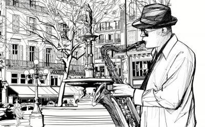 Póster saxofonista en una calle de París