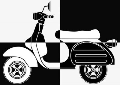 Scooter arte pop en noir et en blanc