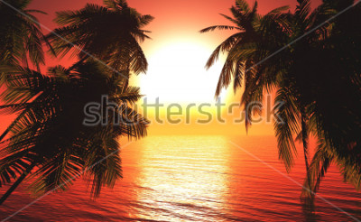 Póster sea sunset among the palm trees, the sun over the water in the palm trees,3D rendering