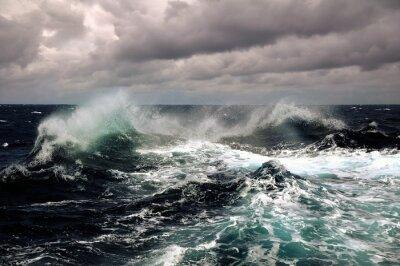 Póster sea wave in atlantic ocean during storm