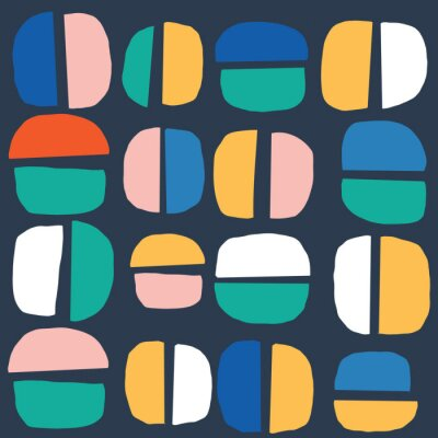 Póster Seamless Abstract Shape Circle pattern. Stylish repeating texture. Repeating circles. colorful. Modern. Simple.