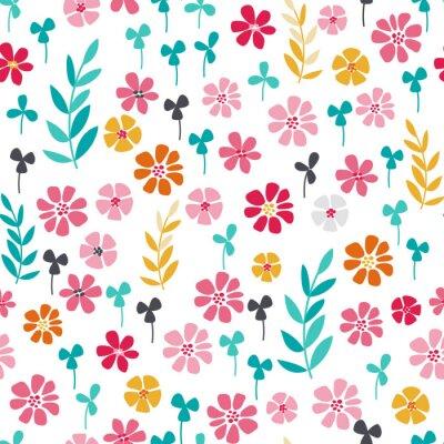 Póster Seamless brillante patrón floral escandinavo