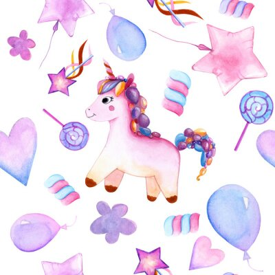 Póster seamless design. unicorn. Balloons. candy on a stick. marshmallows. flower. magic wand star. watercolor. happy Birthday