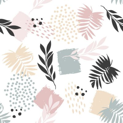 Póster Seamless exotic pattern with plant elements. Vector