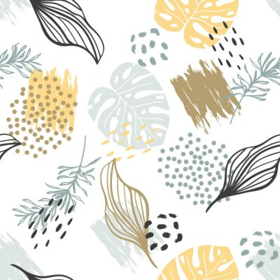 Póster Seamless exotic pattern with plants. Vector