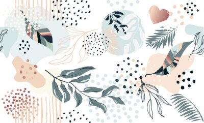Póster Seamless exotic pattern with tropical plants