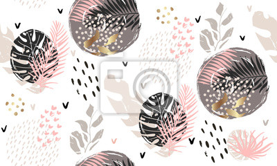 Póster Seamless exotic pattern with tropical plants and gold glitter elements. Vector