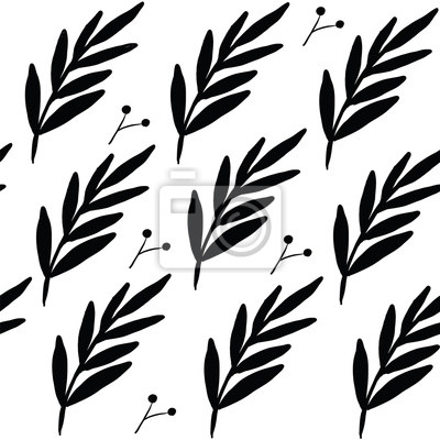 Póster Seamless floral leaf pattern. Stylish repeating texture. Repeating texture with leaves. Black and White.