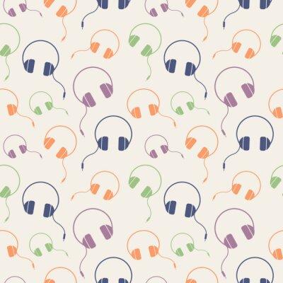 Póster Seamless música vector patrón, caótico fondo con auriculares de colores, sobre fondo claro