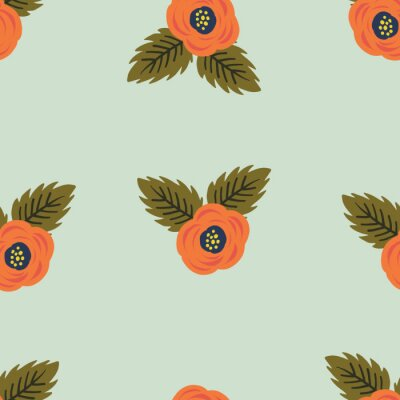 Póster Seamless orange rose flower floral leaf pattern. Stylish repeating texture.Teal Mint Background with orange flowers. Trendy. Botanical.
