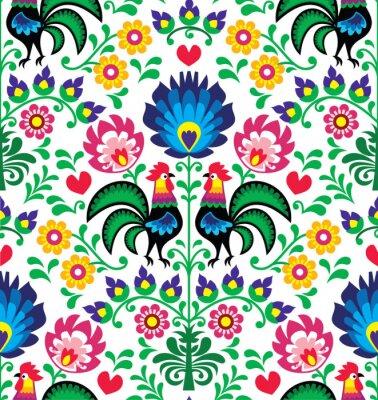 Póster Seamless patrón floral tradicional polaca - Wzory Lowickie