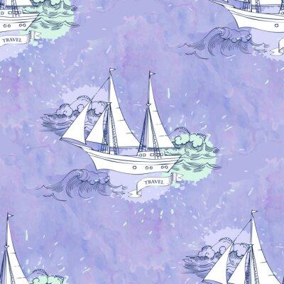 Póster Seamless patt ondas de las naves