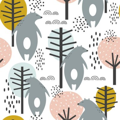 Póster Seamless pattern, bears and trees, hand drawn overlapping backdrop. Colorful background vector. Illustration with animals. Decorative wallpaper, good for printing
