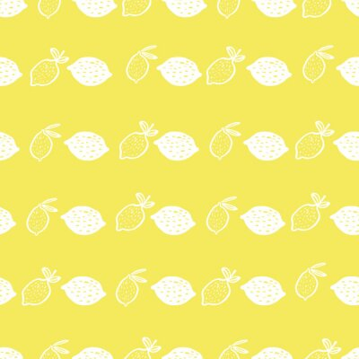 Póster Seamless pattern of lemons on yellow background - vector illustration. Childish. Scandinavian style. Stylish repeating texture.