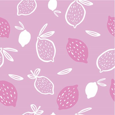 Póster Seamless pattern of pink and white lemons - vector illustration. Childish. Scandinavian style. Stylish repeating texture.