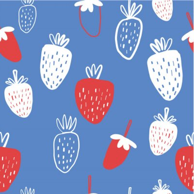 Póster Seamless pattern of strawberries - vector illustration. Childish. Scandinavian style. Stylish repeating texture.