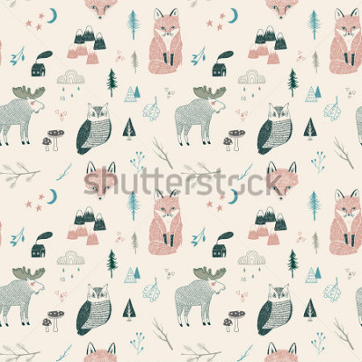 Póster seamless pattern of woodland animals, trees, mountains