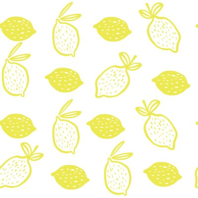 Póster Seamless pattern of yellow lemons - vector illustration. Childish. Scandinavian style. Stylish repeating texture.