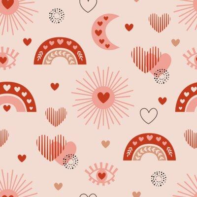 Póster seamless pattern with love boho sun, rainbow, moon