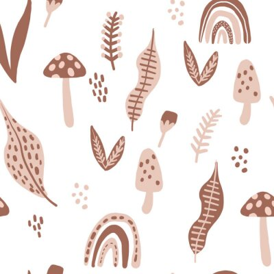 Póster Seamless pattern with mushrooms, rainbows, leaves. Creative botanical floral texture. Great for fabric, textile Vector Illustration. scandanavian style