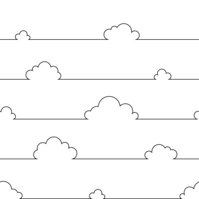 Póster Seamless pattern with simple cartoon clouds in continuous line art drawing style. Black linear design on white background. Vector illustration