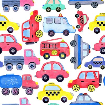 Póster Seamless pattern with watercolor cartoon cars and spare parts. Design of children's clothing, wallpaper, packaging, background, wall