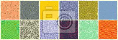 Póster Seamless patterns, abstract organic lines color backgrounds set. Biological patterns with yellow, purple and blue memphis dots, irregular squiggle lines and abstract shape texture