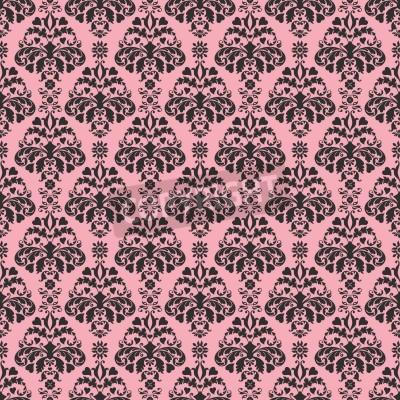 Póster Seamless Pink   Black Damask