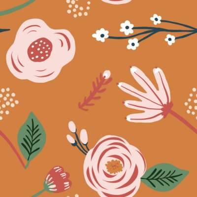 Póster Seamless pink flower floral leaf pattern. Stylish repeating texture. Orange background with pink flowers. Trendy. Botanical.