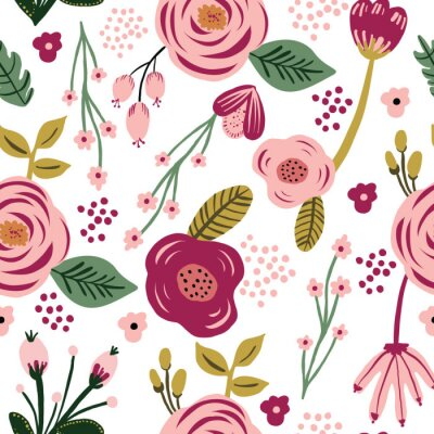Póster Seamless pink flower floral leaf pattern. Stylish repeating texture. Repeating texture.