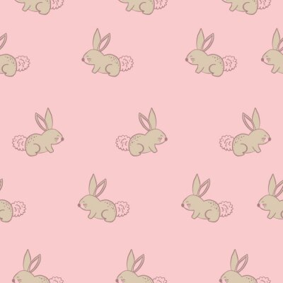 Póster seamless pink pastel bunny rabbits.Cute cartoon vector pattern. Seamless repeating pattern.