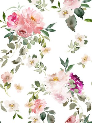 Póster Seamless summer pattern with watercolor flowers handmade.