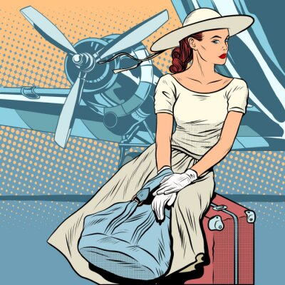 Señora viajera en el aeropuerto