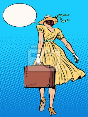 Señora viajero con maleta