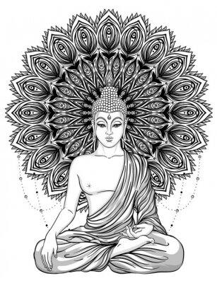 Póster Sentado Buda sobre flor de rosa adornado. Ilustración esotérica del vector de la vendimia. Indio, budismo, arte espiritual. Tatuaje Hippie, espiritualidad, dios tailandés, yoga zen