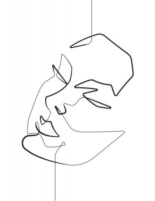 Póster Serene Female Face One Single Continuous Line Vector Graphic Illustration