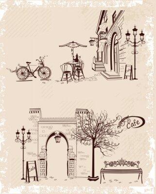 Póster Serie de fondos decoradas con vistas al casco antiguo y cafés de la calle.