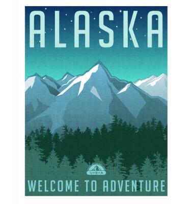 Póster Serie del cartel del viaje del estilo retro. Estados Unidos, el paisaje de Alaska Montaña.