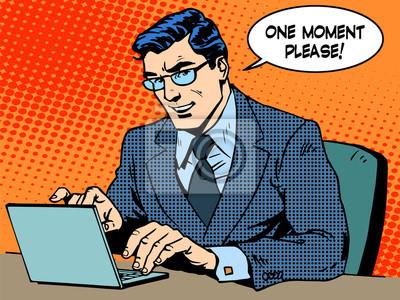 Servicio concepto de negocio. Hombre de negocios con la computadora, dice una madre