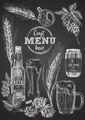 Póster Set hand drawn sketch bottle and glasses beer, hop, wheat Vintage design bar, restaurant, cafe menu on on black chalk board background. Graphic vector art Template for flyer, banner, poster