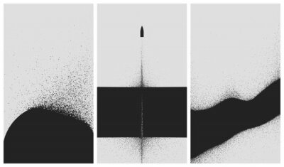 Póster Set of black and white backgrounds with dust explosion and particle spraying