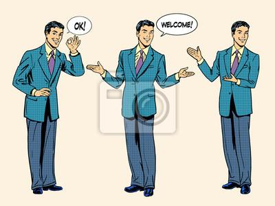 set of businessman presentation show welcome