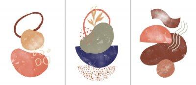Póster Set of digital art illustrations, contemporary minimalist abstract modern