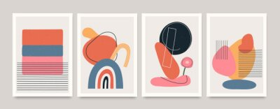Póster Set of minimalistic geometric art posters with elements of geometric shapes and lines. Modern contemporary creative trendy abstract templates vector illustration.