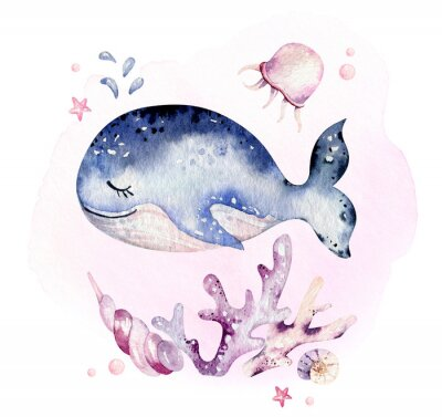 Póster Set of sea animals. Blue watercolor ocean fish, turtle, whale and coral. Shell aquarium background. Nautical marine hand painted illustration.