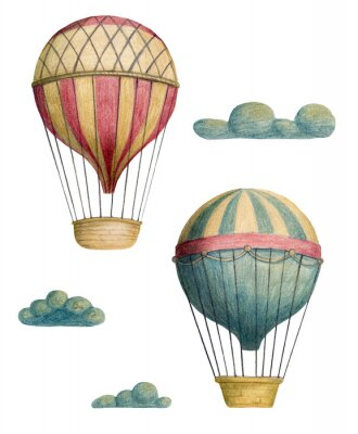 Póster Set of steampunk elements - air balloons and clouds. Hand drawn colored pencils illustration.
