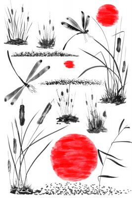 Póster Set of sun,   bulrush, grass and dragonflies.  Watercolor and ink illustration in style sumi-e, u-sin, go-hua. Oriental traditional painting. Isolated .