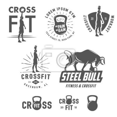 Póster Set of vintage crossfit emblems and design elements